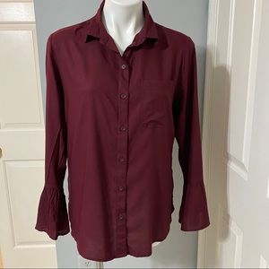 BeachLunchLounge Burgundy Button Down  Blouse- M